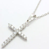 0.40ctw White Sapphire Cross Necklace