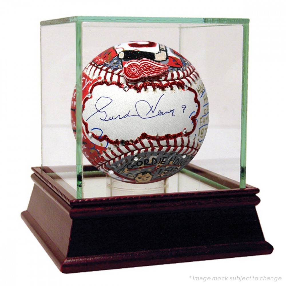 Gordie Howe Signed Baseball Hand-Painted by Charles Fazzino with High Quality Display Case (PSA Hologram) at PristineAuction.com