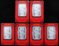 Lot of (6) One Ounce .999 Fine Silver 2012 PAMP Lunar Calendar Series Dragon Bullion Bars