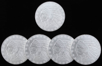 Lot of (5) Indian Head Design One Troy Ounce .999 Fine Silver Bullion Round