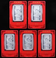 Lot of (5) One Ounce .999 Fine Silver 2012 PAMP Lunar Calendar Series Dragon Bullion Bars
