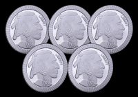 Lot of (5) 1 oz Silvertowne Buffalo Stackable Silver Bullion Rounds