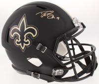 Drew Brees Signed New Orleans Saints Full-Size Custom Matte Black Speed Helmet (Beckett COA)