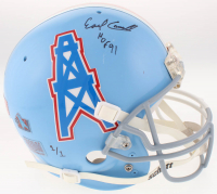 Earl Campbell Twice-Signed LE Houston Oilers / Texas Longhorns Split Full-Size Helmet with (2) Inscriptions (Beckett COA)