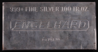 100 Troy Ounce Engelhard .999 Fine Silver Bullion Bar