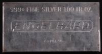 100 Troy Ounce Engelhard .999 Fine Silver Bullion Bar