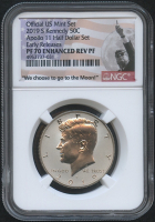 2019-S 50¢ Kennedy Silver Half Dollar - Enhanced Reverse Proof - Apollo 11 Label (Early Releases) (NGC PF 70)