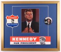 John F. Kennedy 22x26 Custom Framed Print Display With (3) Vintage Campaign Items