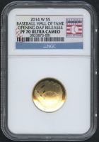2014-W Baseball Hall of Fame $5 Gold Proof Coin - Opening Day Releases (NGC PF 70 Ultra Cameo)