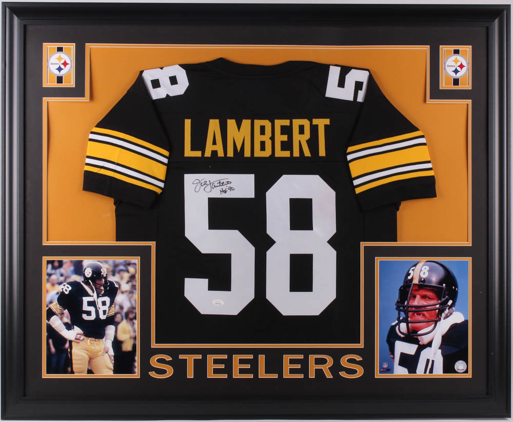 1961072a879 Jack Lambert Signed Pittsburgh Steelers 35x43 Custom Framed Jersey  Inscribed