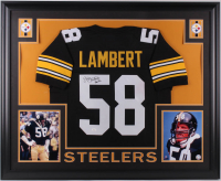"Jack Lambert Signed Pittsburgh Steelers 35x43 Custom Framed Jersey Inscribed ""HOF 90"" (JSA COA)"