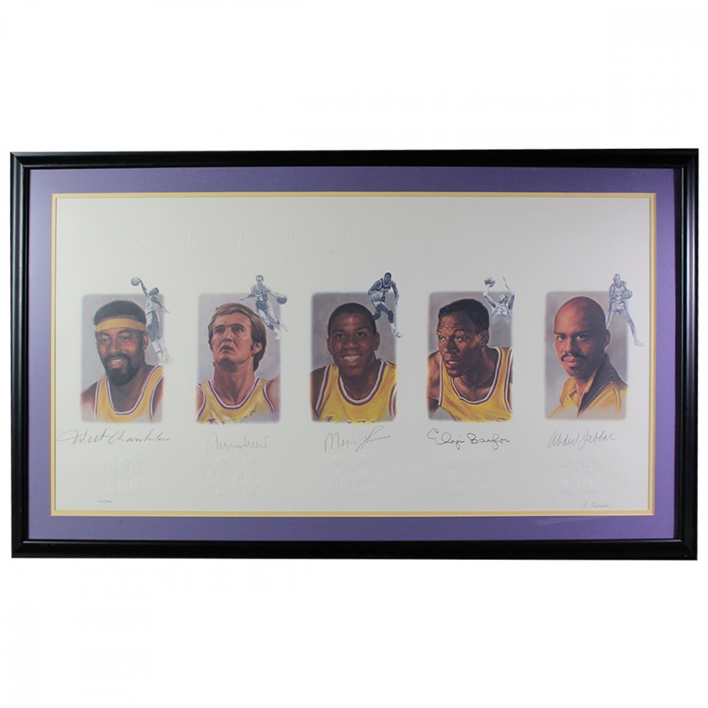 Los Angeles Lakers Greats 24x42 Custom Framed LE Print Signed by (5) with Wilt Chamberlain, Jerry West, Magic Johnson, Kareem Abdul-Jabbar & Elgin Baylor (JSA Hologram) at PristineAuction.com