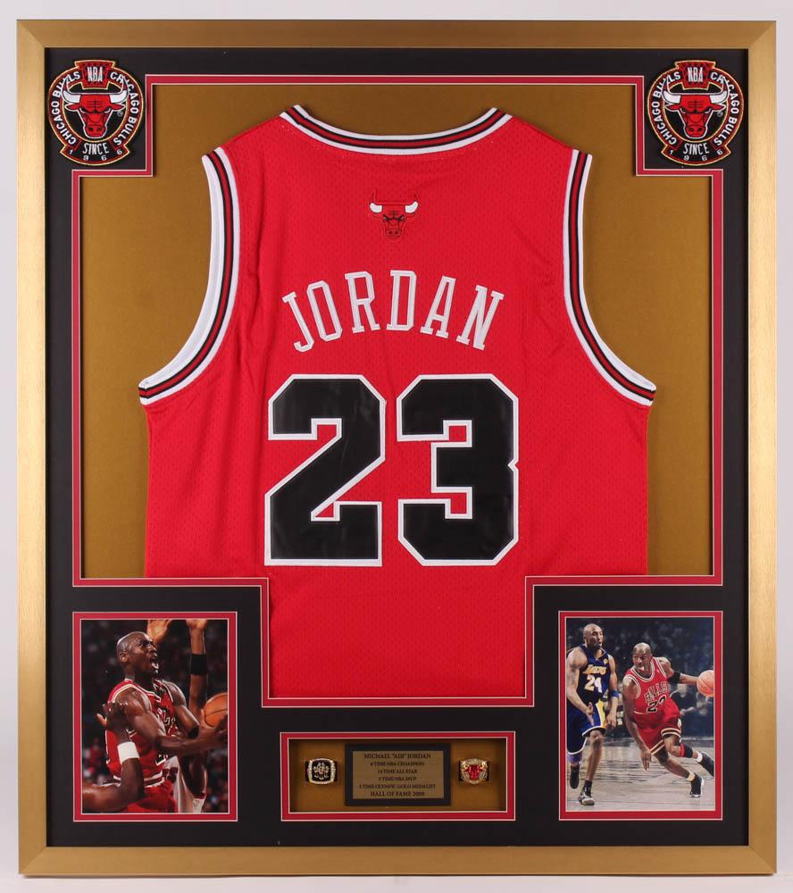6d759b051 Michael Jordan Chicago Bulls 32x36 Custom Framed Jersey with (2) Replica  Championship Rings