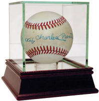 Mickey Charles Mantle Signed OAL Baseball with High Quality Display Case (Steiner COA) at PristineAuction.com