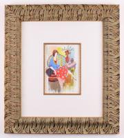 """Itzchak Tarkay Signed """"Enjoying The Afternoon"""" 24.75x27.75 Custom Framed Mixed Media Watercolor (PA LOA)"""