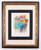 "Itzchak Tarkay Signed ""Cafe"" 24.75x30.75 Custom Framed Mixed Media Watercolor (PA LOA)"