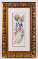 "Itzchak Tarkay Signed ""A Day at The Park"" 20.25x32.75 Custom Framed Mixed Media Watercolor (PA LOA)"
