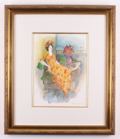 "Itzchak Tarkay Signed ""Untitled"" 23x26.5 Custom Framed Watercolor (PA LOA)"