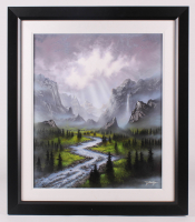 "Jon Rattenbury Signed ""After the Valley Rain"" 27.25x31.75 Custom Framed Original Acrylic on Canvas Display (PA LOA)"