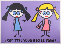 """Todd Goldman """"I Can Tell Your Bag is Fake"""" Signed Limited Edition 38x27 Lithograph"""