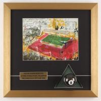 Willie Mosconi Signed 16x16 Custom Framed LeRoy Neiman #8 Ball Display (PSA COA)