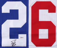 Saquon Barkley Signed New York Giants Home / Away Split Jersey (Beckett COA) at PristineAuction.com