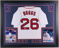 Wade Boggs Signed Boston Red Sox 35x43 Custom Framed Jersey (JSA COA)