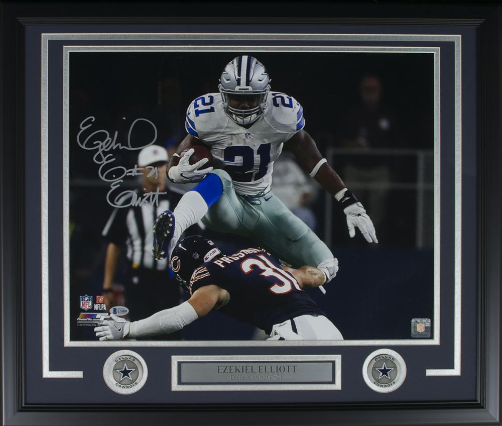 c1dccecdc Ezekiel Elliott Signed Dallas Cowboys 22x27 Custom Framed Photo Display ( Beckett COA)