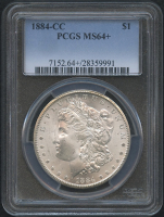 1884-CC $1 Morgan Silver Dollar (PCGS MS 64+)