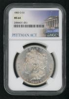 1883-O Morgan Silver Dollar - Pittman Act Label (NGC MS 64)
