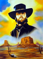 "Hector Monroy Signed ""Clint Eastwood"" 31.5x41 Original Oil Painting on Canvas (PA LOA)"