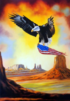 "Hector Monroy Signed ""Wings of Liberty"" 29.5x41 Original Oil Painting on Canvas (PA LOA)"