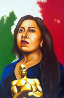 "Hector Monroy Signed ""Yalitza Aparicio ROMA"" 29x41.5 Original Oil Painting on Canvas (PA LOA) at PristineAuction.com"