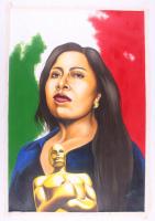 "Hector Monroy Signed ""Yalitza Aparicio ROMA"" 29x41.5 Original Oil Painting on Canvas (PA LOA) at PristineAuction.com"
