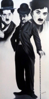 "Hector Monroy Signed ""Charlie Chaplin"" 25x48.5 Original Oil Painting on Canvas (PA LOA)"