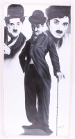 """Hector Monroy Signed """"Charlie Chaplin"""" 25x48.5 Original Oil Painting on Canvas (PA LOA) at PristineAuction.com"""