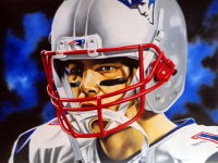 "Hector Monroy Signed ""Tom Brady"" 26x34 Original Oil Painting on Canvas (PA LOA) at PristineAuction.com"