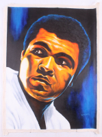 "Hector Monroy Signed ""Muhammad Ali"" 26x34 Original Oil Painting on Canvas (PA LOA)"