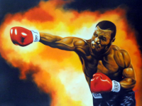 "Hector Monroy Signed ""Mike Tyson"" 26x34 Original Oil Painting on Canvas (PA LOA)"