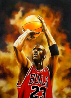 "Hector Monroy Signed ""Michael Jordan"" 26x34 Original Oil Painting on Canvas (PA LOA)"