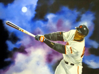 "Hector Monroy Signed ""Barry Bonds"" 26x34 Original Oil Painting on Canvas (PA LOA)"