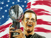 "Hector Monroy Signed ""Tom Brady"" 26x34 Original Oil Painting on Canvas (PA LOA)"