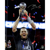 "Tom Brady Signed Patriots ""Super Bowl 51"" 16x20 Photo with Trophy (TriStar)"