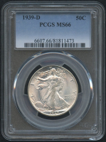 1939-D 50¢ Walking Liberty Silver Half Dollar (PCGS MS 66)