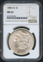 1884-CC $1 Morgan Silver Dollar (NGC MS 63)