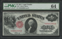 1917 $1 One Dollar Legal Tender Large Bank Note (PMG 64)