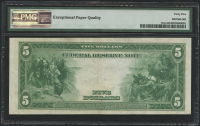 1914 $5 Five Dollars Federal Reserve Large Size Bank Note - New York (PMG 45) (EPQ) at PristineAuction.com