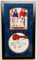 "The Monkees 16.5x28 Custom Framed Drumhead Display Signed by (4) with Davy Jones, Peter Tork, Michael Nesmith & Micky Dolenz Inscribed ""Hey Hey We're The Monkees"" (JSA LOA)"