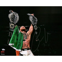 "Conor McGregor Signed UFC ""Raising Two Belts"" 16x20 Photo (Fanatics Hologram) at PristineAuction.com"