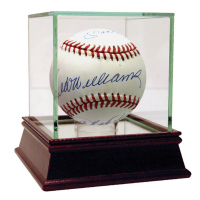 Triple Crown Winners OAL Baseball Signed by (3) with Mickey Mantle, Ted Williams & Frank Robinson with High Quality Display Case (UDA Hologram)